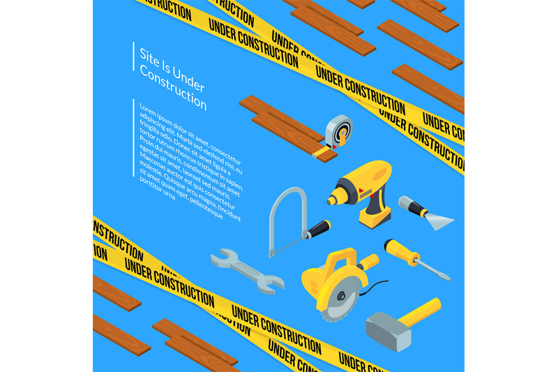 vector-under-construction-tools-isometric-icons-on-blue