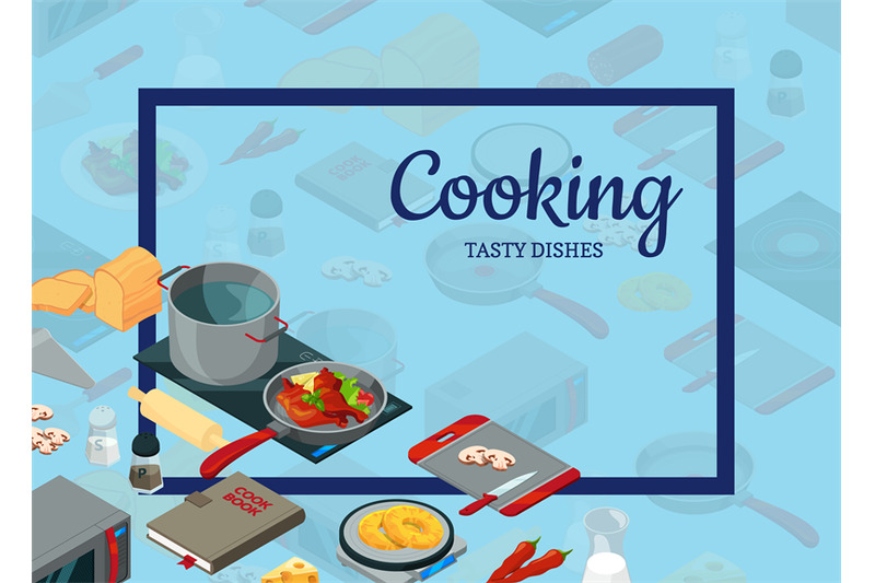 vector-cooking-food-isometric-objects-background-illustration