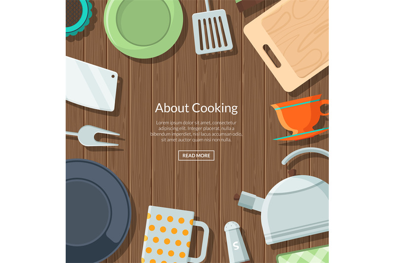vector-kitchen-utensils-flat-icons-on-wooden-texture-background-with-p