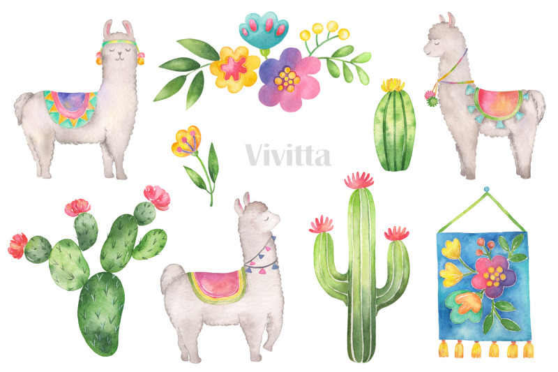 hello-llama-watercolor-clipart-set