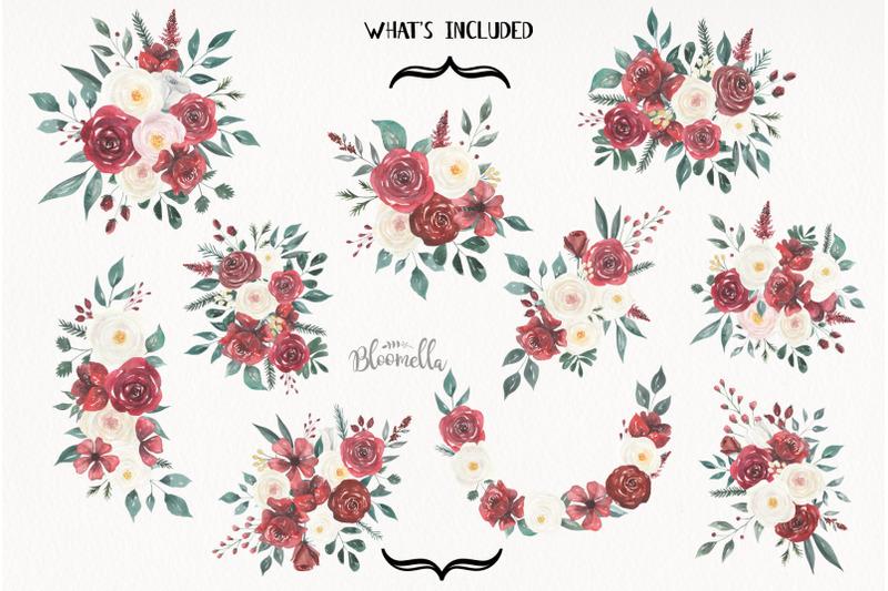 claret-and-cream-flowers-watercolor-wedding-marsala-burgundy-florals