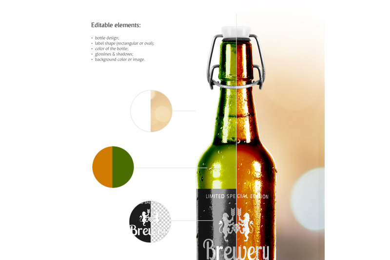Download Dark Amber Glass Beer Bottle Mockup Yellowimages