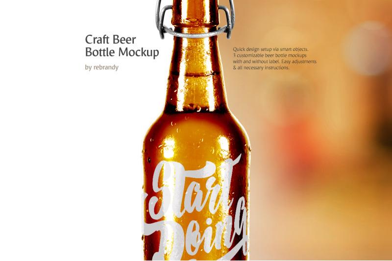 Free Craft Beer Bottle Mockup (PSD Mockups)
