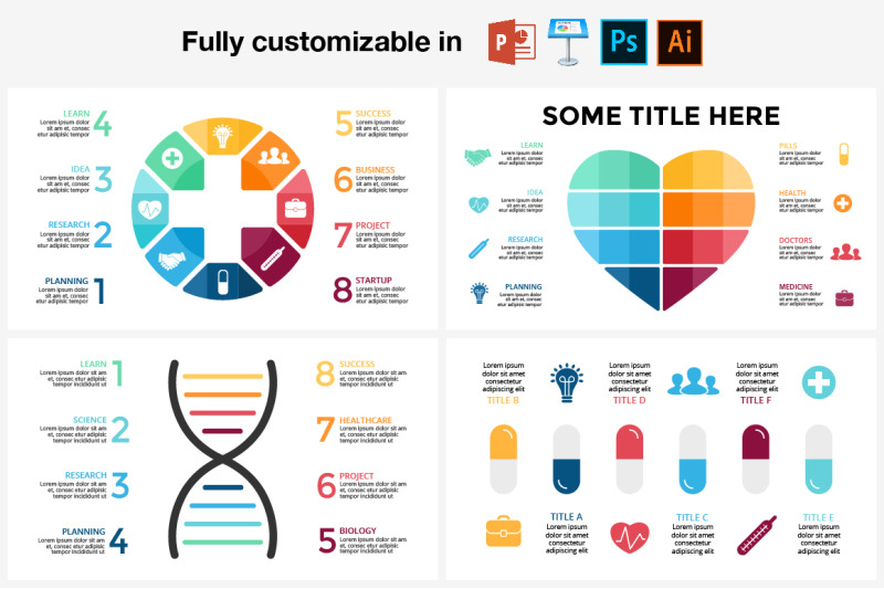 Infographics  Medicine templates  PSD AI EPS PPT KEY By
