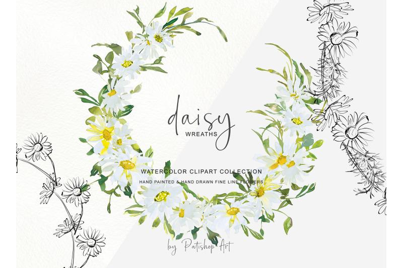 watercolor-daisy-wreath-clip-art-hand-painted-daisy-wreath