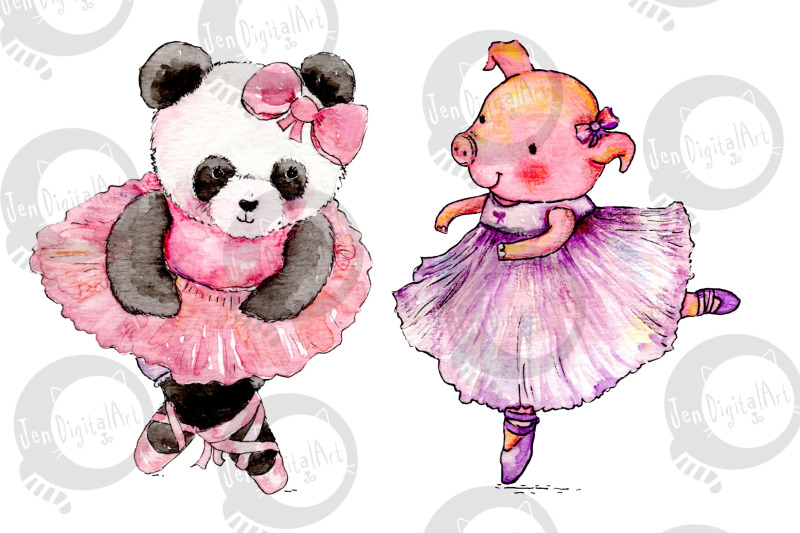 watercolor-ballet-animals-8-hand-painted-illustrations-png-jpeg