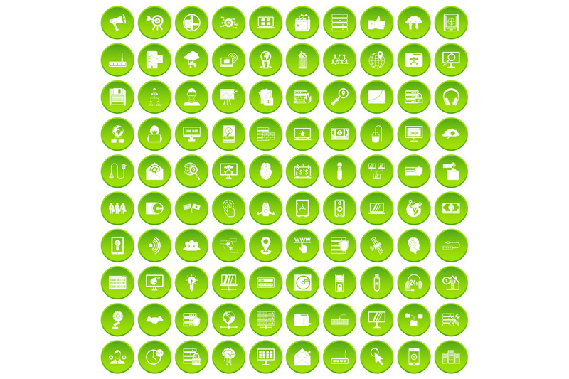 100-cyber-security-icons-set-green