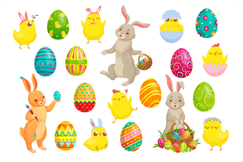 easter-bunny-eggs-cute-rabbit-spring-chicks-and-colorful-egg-vector
