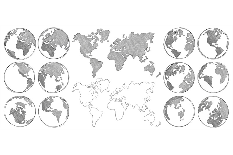 Sketch Map Hand Drawn Earth Globe Drawing World Maps And Globes