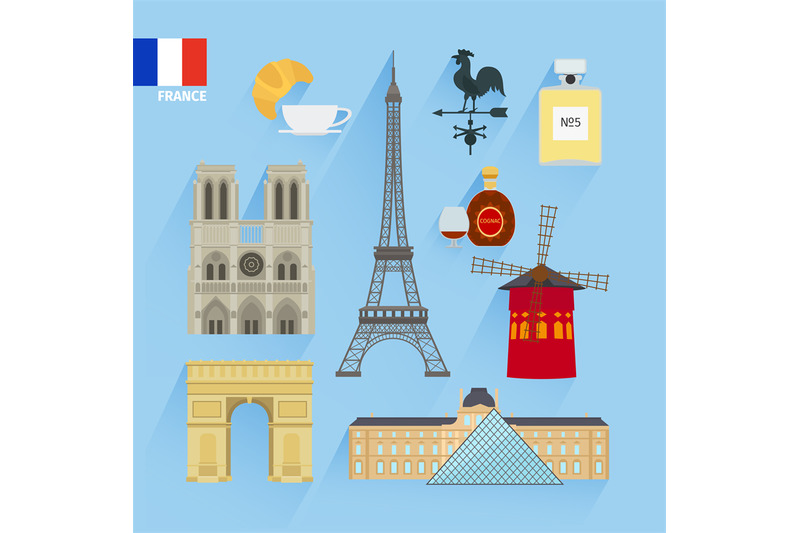 france-flag-and-paris-landmarks