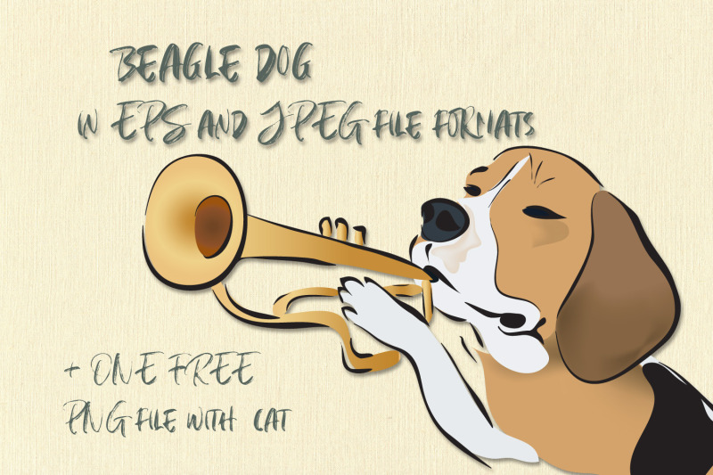 illustration-of-a-beagle-dog-playing-on-a-trumpet-cat-with-hat