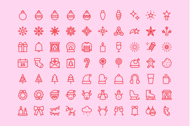 merry-christmas-line-icons-vector