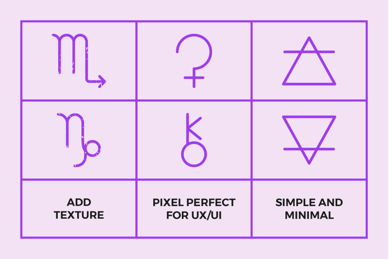 astrology-symbols-line-icon-pack