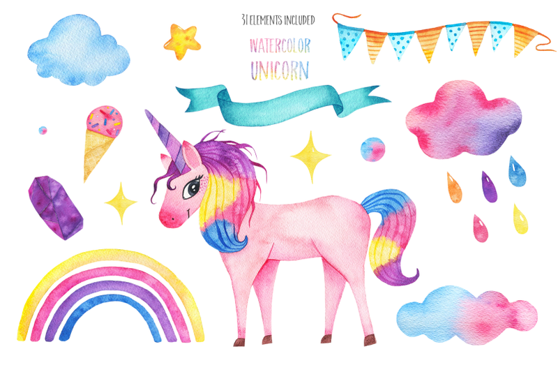 cute-watercolor-unicorns-collection