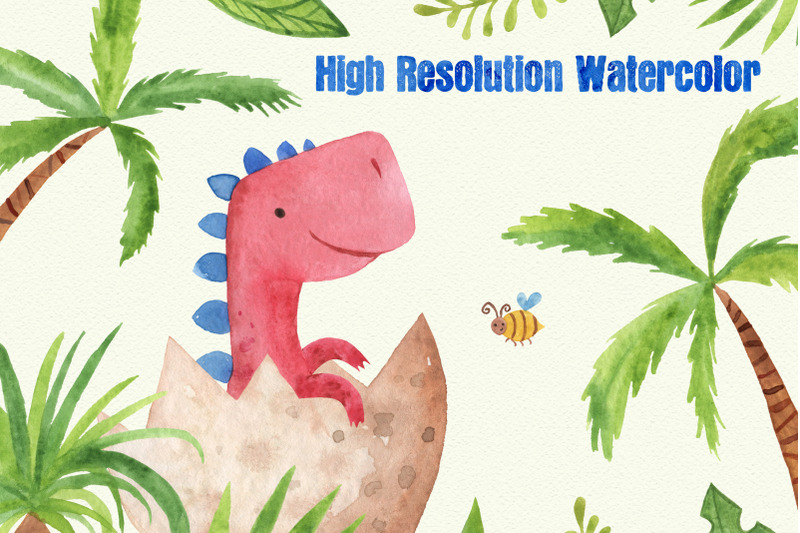 watercoolor-dinosaurs-clipart-set