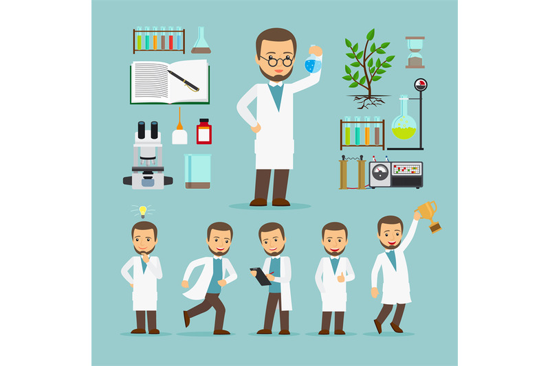 scientist-with-laboratory-equipment-icons