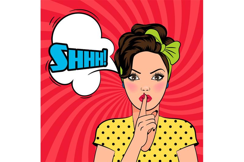 vector-pop-art-woman-asking-for-silence