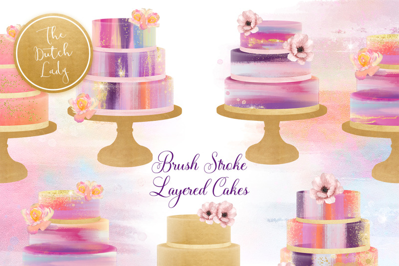brush-stroke-marmor-layered-cake-clipart-set