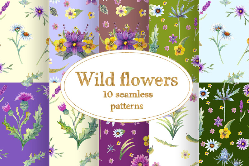 wild-flowers-watercolor-seamless-patterns