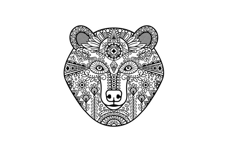 zentangle-bear-head