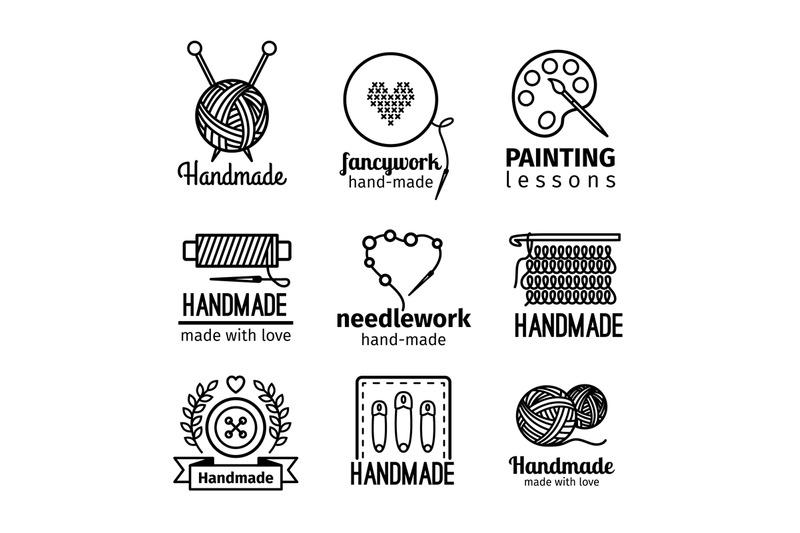 handmade-workshop-thin-line-logo-set