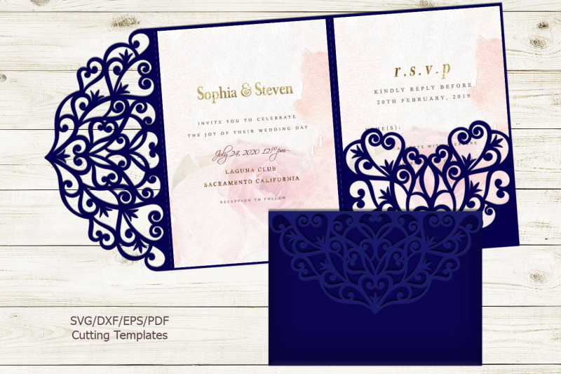 Trifold Wedding Invitation Svg Dxf Pdf Laser Cut Cricut File By Kartcreation Thehungryjpeg Com