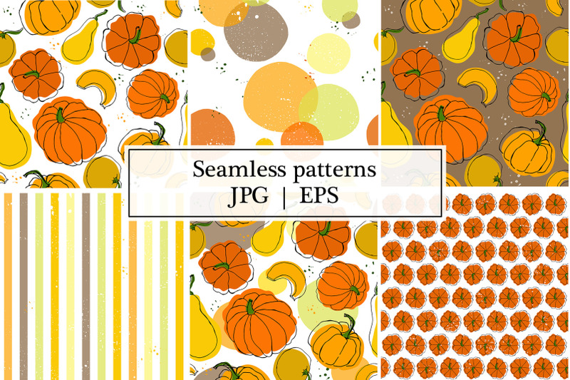 vector-patterns-with-pumpkins