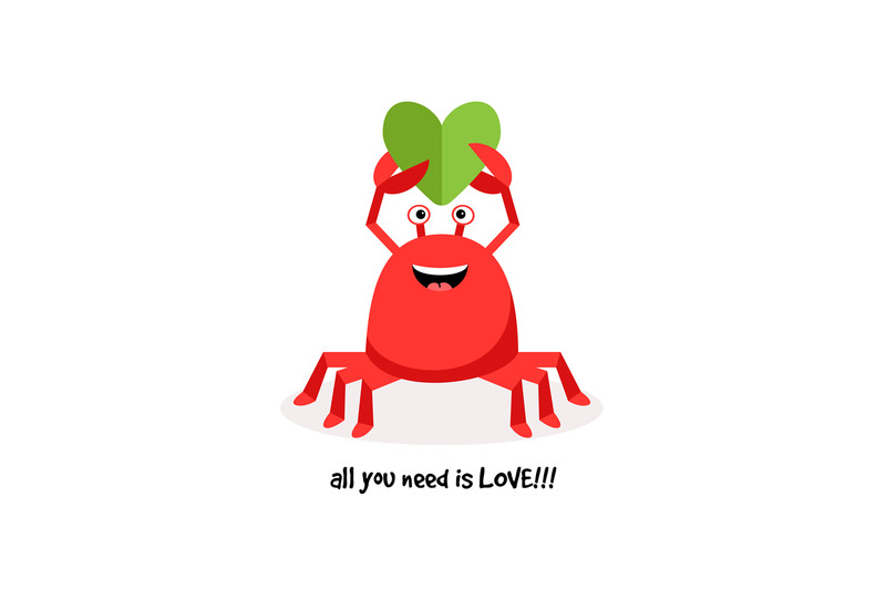 cartoon-crab-in-love-with-paper-heart