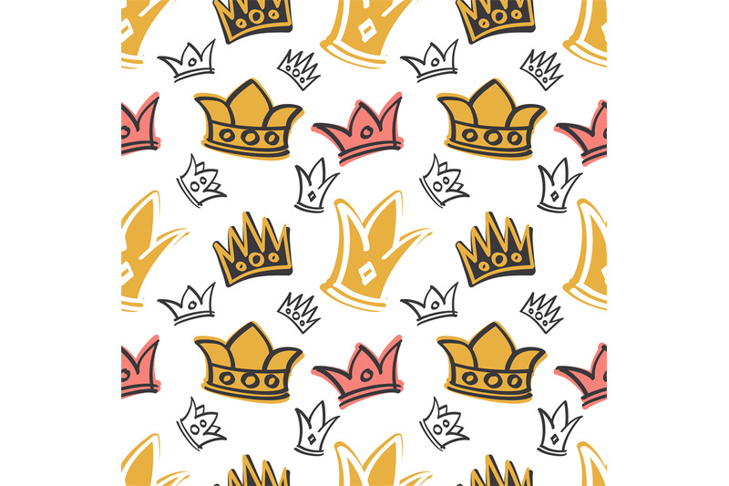 cute-princess-birthday-vector-seamless-pattern-with-pink-and-gold-crow