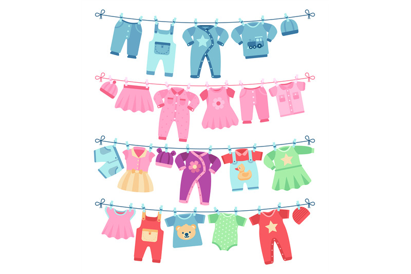 baby-clothes-drying-on-clothesline-vector-illustration