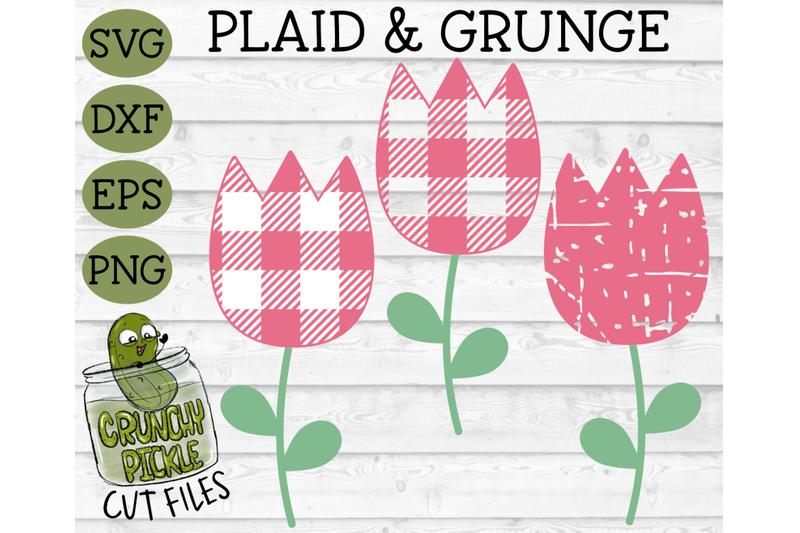 plaid-amp-grunge-tulip-svg