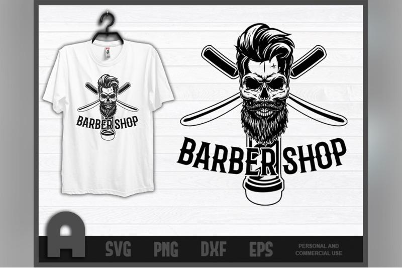 barber-shirt-i-barbershop-retro-skull-t-shirt-haircut-t-shirt-design