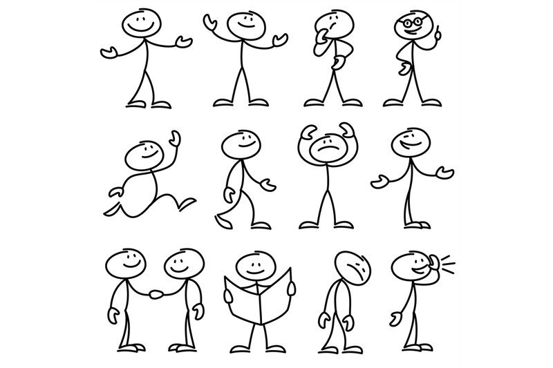 cartoon-hand-drawn-stick-man-in-different-poses-vector-set
