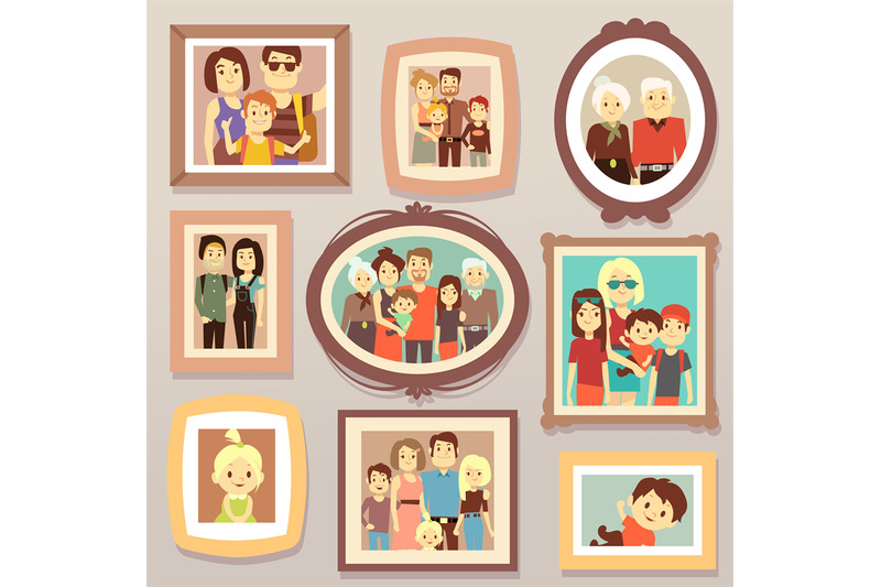 big-family-smiling-photo-portraits-in-frames-on-wall-vector-illustrati