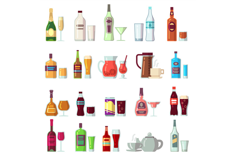 alcoholic-and-soft-drinks-beverages-in-glass-and-bottles-flat-vector