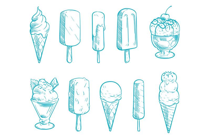 doodle-ice-cream-cones-vector-set-hand-drawn-cartoon-ice-creams