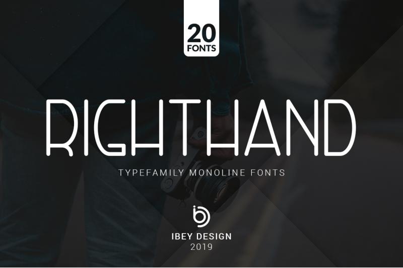 righthand-20-monoline-fonts