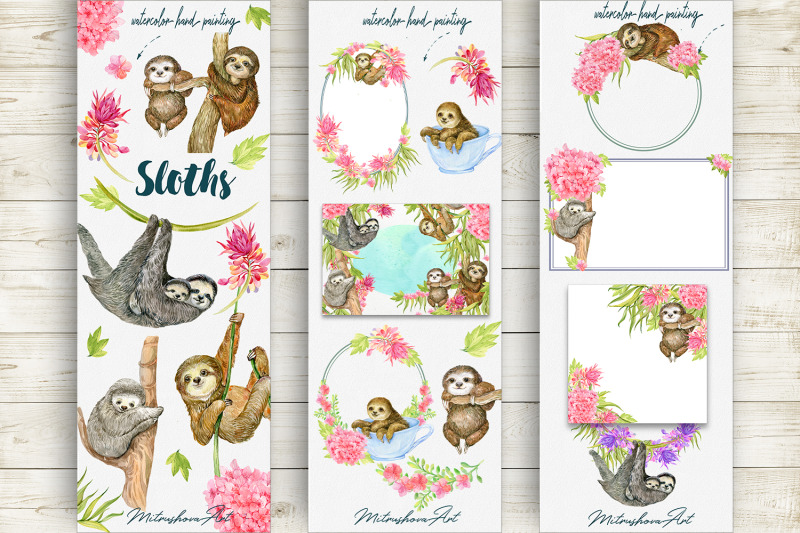 sloth-watercolor-clipart