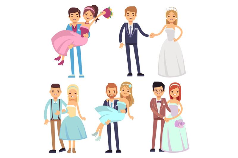 happy-smiling-wedding-couples-isolated-vector-set-young-brides-and-gr
