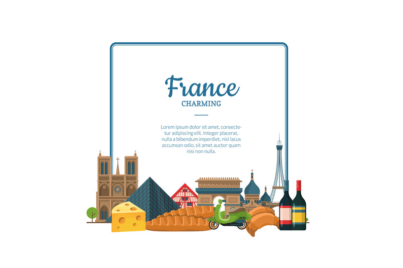 vector-cartoon-france-sights-and-objects-paris-text-frame