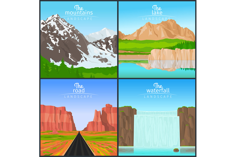 mountains-and-waterfall-landscape-set