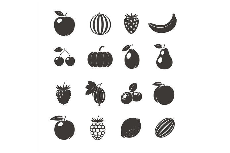 vector-fruits-black-icons
