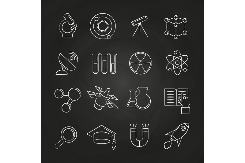 science-line-icons-set-on-chalkboard