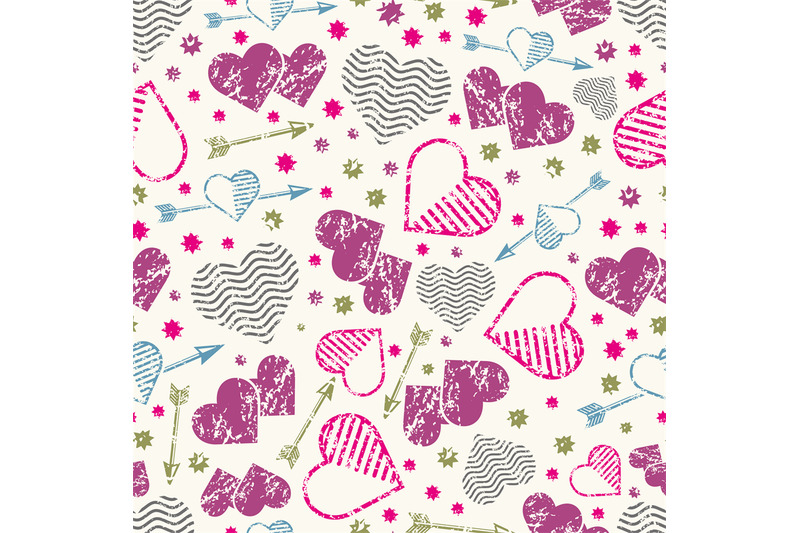 romantic-seamless-pattern-with-grunge-hearts-and-arrows