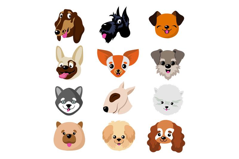 funny-cartoon-dog-faces-cute-puppy-animal-vector-set