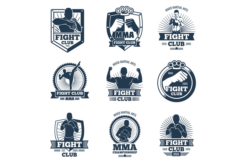 retro-mma-vector-emblems-and-labels-fight-club-vintage-logos