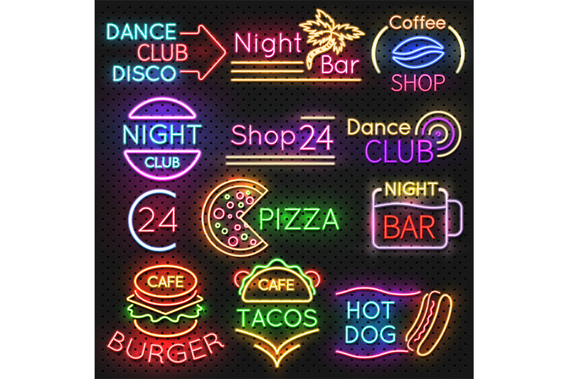 bright-roadside-neon-signs-fast-food-and-beer-pub-light-vector-icons