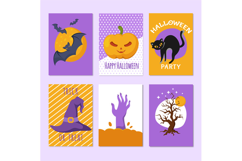 halloween-party-posters-and-invitation-cards-with-cartoon-scary-signs