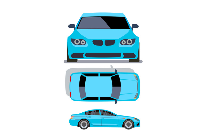 vector-flat-style-cars-in-different-views-blue-sedan