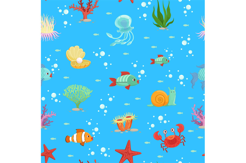vector-cartoon-underwater-creatures-and-seaweed-pattern-or-background